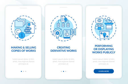 Exclusive owner rights onboarding mobile app page screen with concepts. Making works copies walkthrough 3 steps graphic instructions. UI, UX, GUI vector template with linear color illustrations
