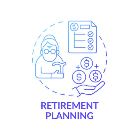 Retirement planning concept icon. Wealth management idea thin line illustration. Health-related expenses. Disability costs. Investment account. Managing risk. Vector isolated outline RGB color drawing