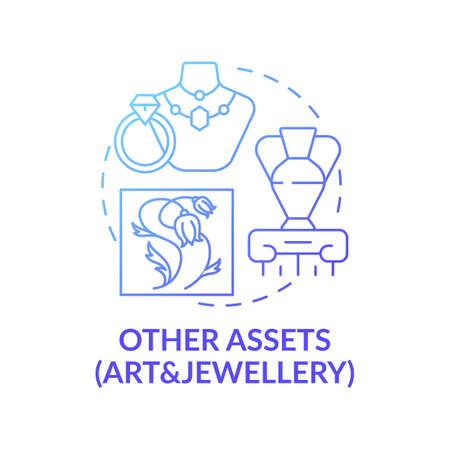 Art and jewelery assets concept icon. Comprehensive wealth planning idea thin line illustration. Ancient, modern works. Arts and antiques market. Vector isolated outline RGB color drawing