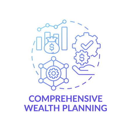 Comprehensive wealth planning concept icon. Wealth management idea thin line illustration. Professional coordination. Financial modeling process. Vector isolated outline RGB color drawing