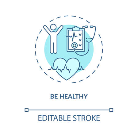 Be healthy concept icon. Healthy lifestyle idea thin line illustration. Be more active. Self care time. Keep emotional balance. Vector isolated outline RGB color drawing. Editable stroke