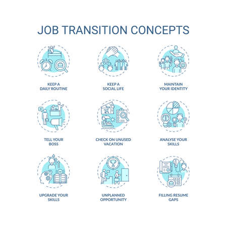 Job transition concept icons set. Career change advices idea thin line RGB color illustrations. How be successful. Upgrade your skills. Vector isolated outline drawings. Editable stroke