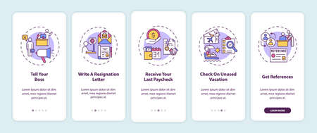 Resignation checklist onboarding mobile app page screen with concepts. Job leaving tips walkthrough five steps graphic instructions. UI, UX, GUI vector template with linear color illustrations