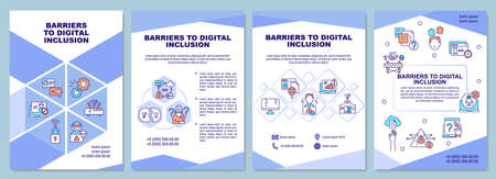 Barriers to digital inclusion brochure template. Wifi access lack. Flyer, booklet, leaflet print, cover design with linear icons. Vector layouts for presentation, annual reports, advertisement pages