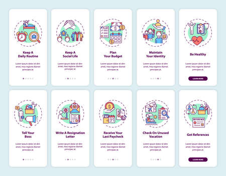 Job transition onboarding mobile app page screen set with concepts. Work change tips walkthrough five steps graphic instructions. UI, UX, GUI vector template with linear color illustrations
