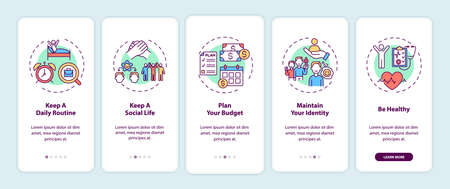 Job transition tips onboarding mobile app page screen with concepts. Future organize advice walkthrough five steps graphic instructions. UI, UX, GUI vector template with linear color illustrations