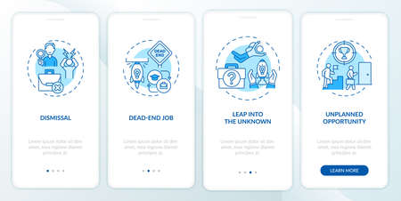 Job transition reasons onboarding mobile app page screen with concepts. Resignation causes walkthrough 4 steps graphic instructions. UI, UX, GUI vector template with linear day mode illustrations