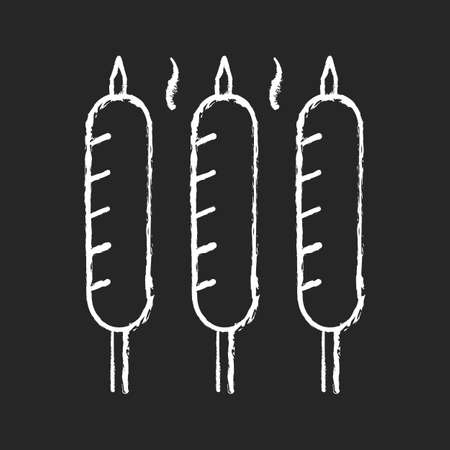Grilled sausages chalk white icon on black background. Summer side dishes. Meat product for barbecue. Frying. Sear-roasting on grill. Outdoor picnic. Isolated vector chalkboard illustration