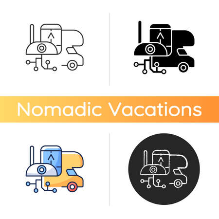 RV electronics icon. Gadgets for trailer, devices for recreational vehicle. Roadtrip gear. Camping trip necessities for traveler. Linear black and RGB color styles. Isolated vector illustrations