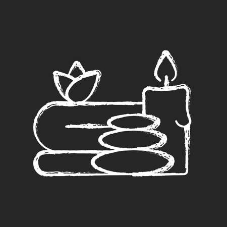 Spa chalk white icon on black background. Luxurious spa facilities and signature spa treatments. Offering special activity for improving customer health. Isolated vector chalkboard illustration