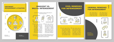 Copyright infringement litigation brochure template. Criminal. Flyer, booklet, leaflet print, cover design with linear icons. Vector layouts for presentation, annual reports, advertisement pages