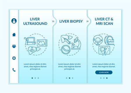 Liver identifying onboarding vector template. Responsive mobile website with icons. Web page walkthrough 3 step screens. Hepatic biopsy, CT scan color concept with linear illustrations
