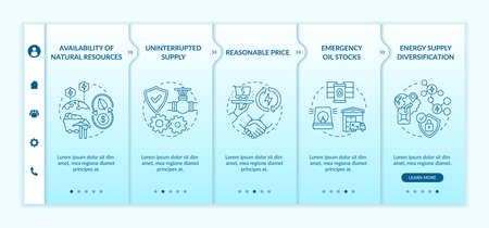 Energetic security elements onboarding vector template. Responsive mobile website with icons. Web page walkthrough 5 step screens. Constant supply, oil stocks color concept with linear illustrations