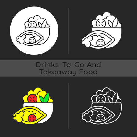 Burrito bowl dark theme icon. Meal with rice, beans, steak, veggies. Burrito without tortilla. Protein, healthy fats. Linear white, simple glyph and RGB color styles. Isolated vector illustrations