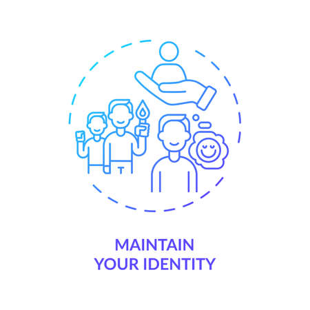 Maintain your identity concept icon. Find yourself and visualize goals idea thin line illustration. Positive minds. Personal support. Vector isolated outline RGB color drawing
