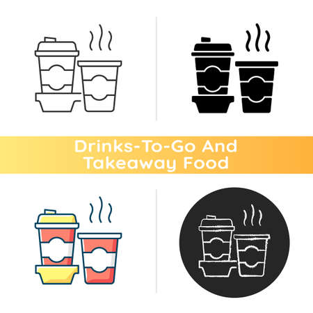 Coffee to go icon. Consuming caffeine. Morning beverage. Cappuccino, americano, espresso. Stimulant. Freshly brewed coffee. Linear black and RGB color styles. Isolated vector illustrations