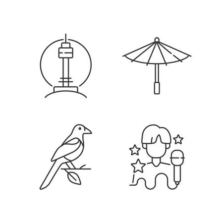 Korean traditions linear icons set. N Seoul tower. Traditional umbrella. Oriental magpie. K pop musician. Customizable thin line contour symbols. Isolated vector outline illustrations. Editable stroke Vektorové ilustrace