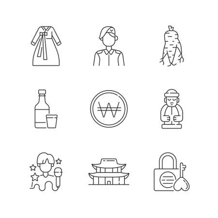 Culture of Korea linear icons set. Hanbok clothing. Korean military. Ginseng root. Namsan love lock. Customizable thin line contour symbols. Isolated vector outline illustrations. Editable stroke