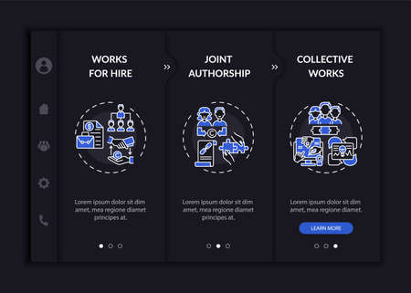 Copyright law specific rules onboarding vector template. Responsive mobile website with icons. Web page walkthrough 3 step screens. Working for hiring night mode concept with linear illustrations