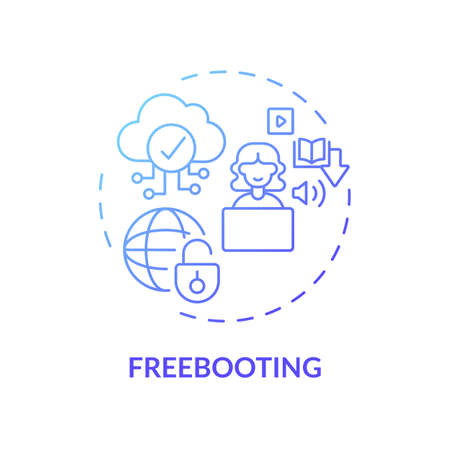 Freebooting concept icon. Copyright infringement type idea thin line illustration. Piracy, plundering. Unauthorized digital content duplication. Vector isolated outline RGB color drawing