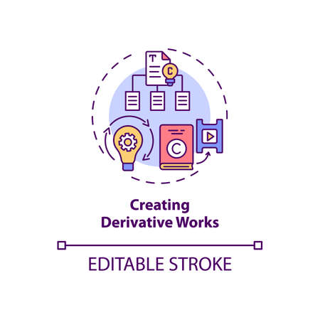 Creating derivative works concept icon. Exclusive author right idea thin line illustration. Works adaptations. Modifying, translating. Vector isolated outline RGB color drawing. Editable stroke