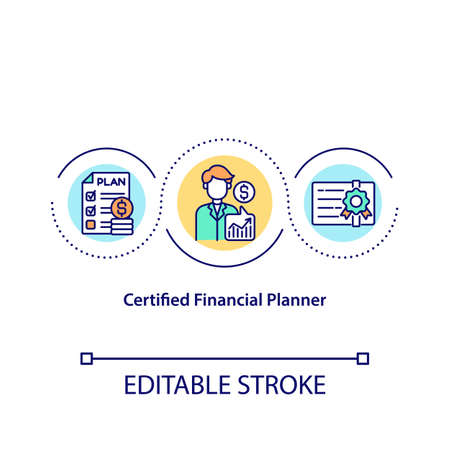 Certified financial planner concept icon. Creating investment strategy to become rich. Smart money spending idea thin line illustration. Vector isolated outline RGB color drawing. Editable stroke