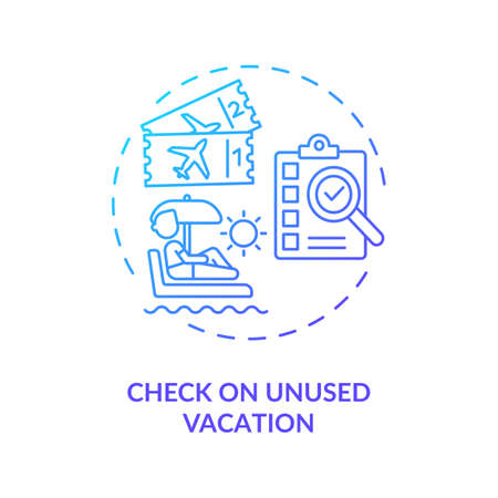 Check on unused vacation concept icon. Get money for vacation idea thin line illustration. Well-deserved rest. Pay for unused rest. Vector isolated outline RGB color drawing.