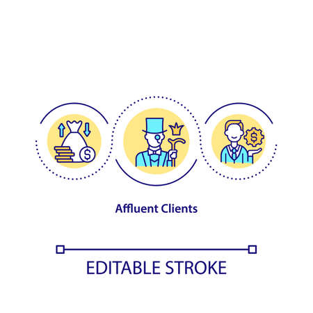 Affluent clients concept icon. Very rich people that own lots of financial assets. Increasing budget idea thin line illustration. Vector isolated outline RGB color drawing. Editable stroke Vektorové ilustrace