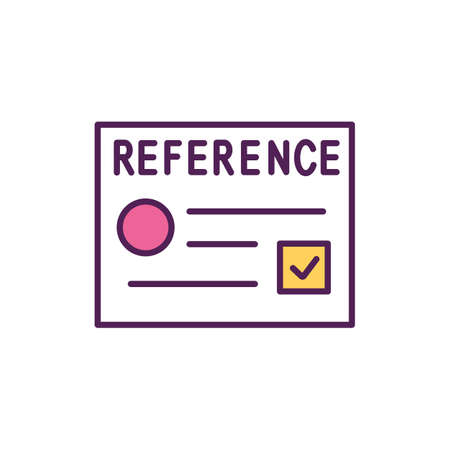 Get references RGB color icon. Provide a list of employment references. Have some recommendation letters available. Ask document your best skills and sides. Isolated vector illustration