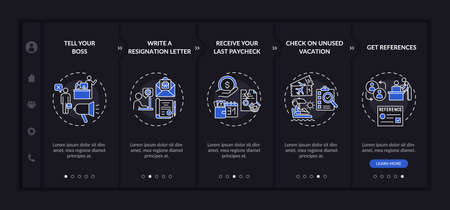 Resignation checklist onboarding vector template dark theme. Responsive mobile website with icons. Web page walkthrough 5 step screens. Last working days night mode concept with linear illustrations
