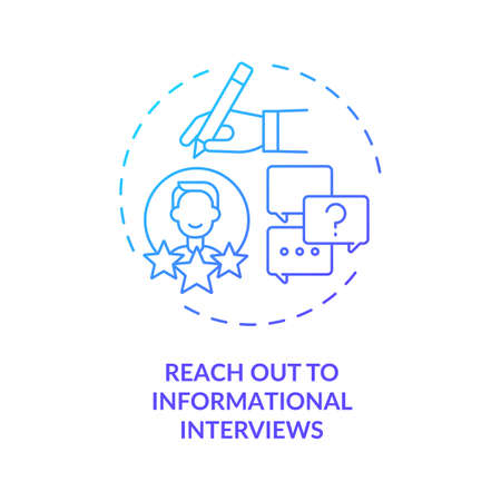 Reach out to informational interviews concept icon. Change career tip thin line illustration. Find new contacts in interested career. Vector isolated outline RGB color drawing