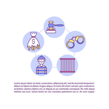 Criminal remedies for infringement concept line icons with text. PPT page vector template with copy space. Brochure, magazine, newsletter design element. Legislation linear illustrations on white