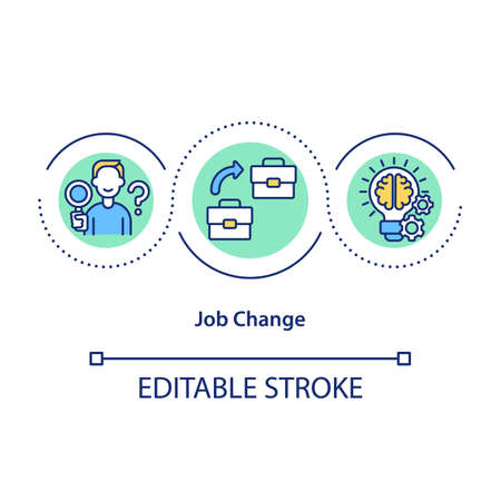 Job change concept icon. Career transition idea thin line illustration. New opportunities. Deliberate decision move to another job. Vector isolated outline RGB color drawing. Editable stroke