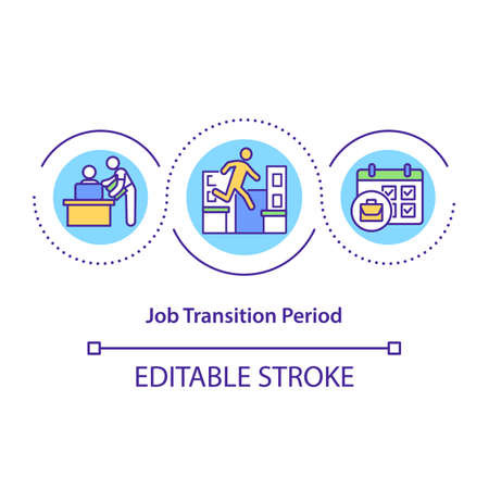 Job transition period concept icon. Be cooperative and helpful employee idea thin line illustration. Communicate with colleagues. Vector isolated outline RGB color drawing. Editable stroke