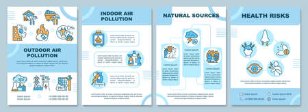 Air pollution brochure template. Outdoor air pollution. Flyer, booklet, leaflet print, cover design with linear icons. Vector layouts for presentation, annual reports, advertisement pages 向量圖像