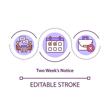 Two weeks notice concept icon. Notifying your employer idea thin line illustration. Courtesy for employer. Time to prepare for resignation. Vector isolated outline RGB color drawing. Editable stroke Ilustración de vector