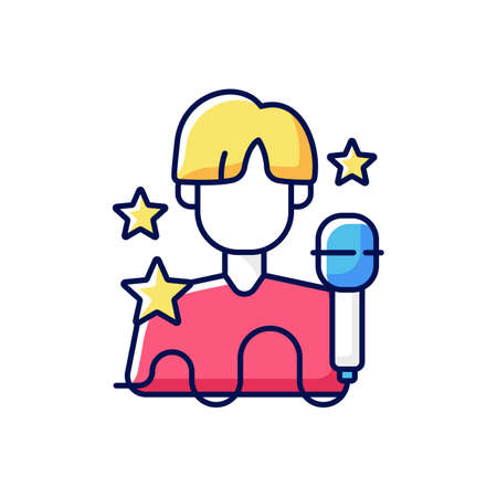 K pop RGB color icon. Musician performance. Popular singer. Pop artist. Group performer. Entertainment industry. Korean culture. Traditional symbols of Korea. Isolated vector illustration Vektorové ilustrace