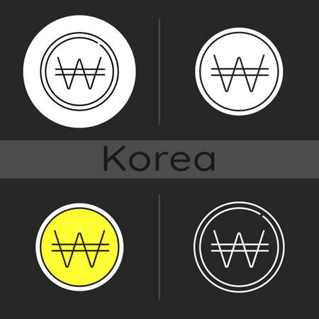 Korean won dark theme icon. Eastern coin. Asian currency. Finance and economy. Pay cost with cash. Korean culture. Linear white, simple glyph and RGB color styles. Isolated vector illustrations