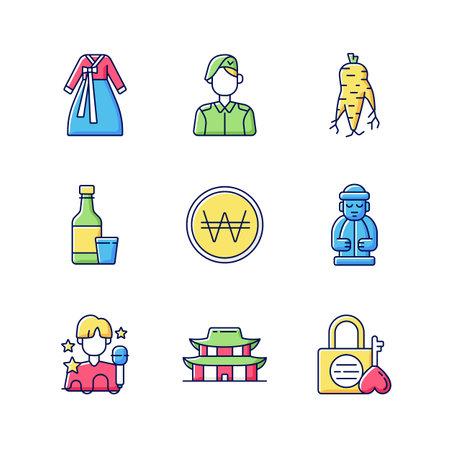 Culture of Korea RGB color icons set. Hanbok clothing. Korean military. Ginseng root. Soju drink. Won coin. Jeju island statue. K pop. Gyeongbok palace. Namsan love lock. Isolated vector illustrations Vektorové ilustrace
