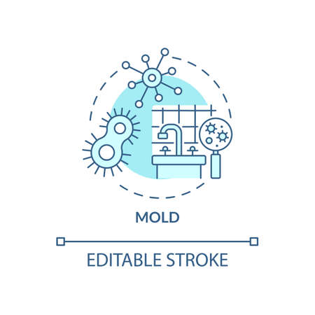 Mold concept icon. Indoor air pollution idea thin line illustration. Food source, moisture, warm temperatures. Toxic substances. Vector isolated outline RGB color drawing. Editable stroke