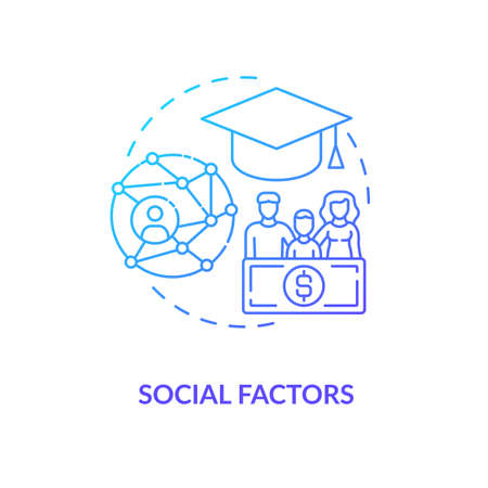 Social factors concept icon. Purchase decision factor idea thin line illustration. Sharing indirect relationship. Co-workers. Interaction on regular basis. Vector isolated outline RGB color drawing Vektoros illusztráció