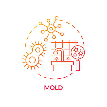 Mold concept icon. Indoor air pollution idea thin line illustration. Toxic substances. Bacteria and viruses. Flooding, leaks. Respiratory problems. Vector isolated outline RGB color drawing