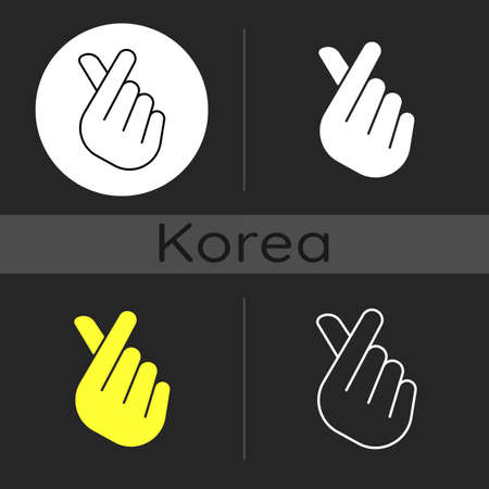 Finger heart dark theme icon. Gesturing hand for flirting and friendship. Romantic signature. K pop. Korean culture. Linear white, simple glyph and RGB color styles. Isolated vector illustrations