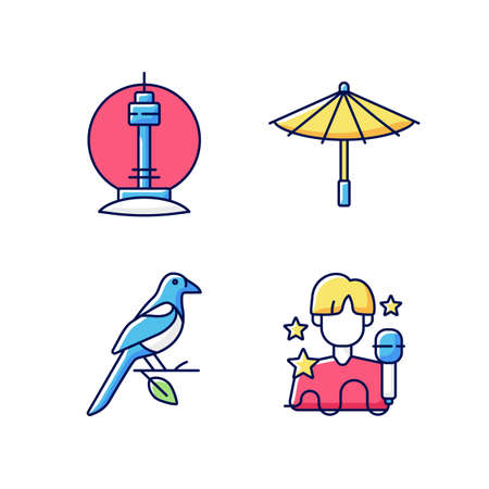 Korean traditions RGB color icons set. N Seoul tower. Traditional umbrella. Oriental magpie. K pop musician. Asian culture. Traditional symbols of Korea. Isolated vector illustrations Vektorové ilustrace