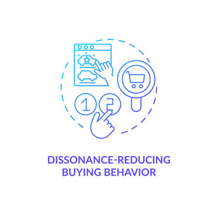 Dissonance-reducing buying behavior concept icon. Consumer type idea thin line illustration. Little difference between brands. High price, infrequent buying. Vector isolated outline RGB color drawing