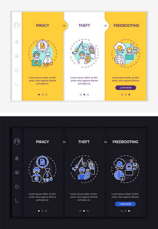 Copyright violation kinds onboarding vector template. Responsive mobile website with icons. Web page walkthrough 3 step screens. Plagiarizing night and day mode concept with linear illustrations