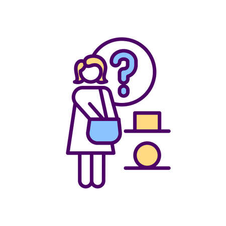 Buyer decision process RGB color icon. Consumer behavior. Product and brand choice. Decision-making process. Multiple alternatives. Impulsive and need-based customers. Isolated vector illustration