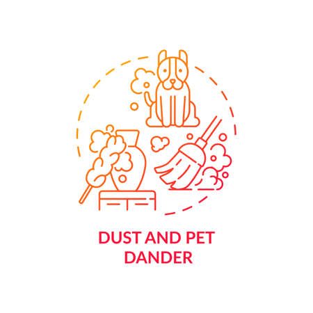 Dust and pet dander concept icon. Indoor air pollution idea thin line illustration. Biological contaminants. Breathing problems. Pet hair. Asthma attack. Vector isolated outline RGB color drawing 向量圖像