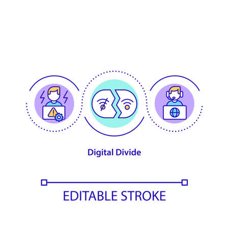 Digital divide concept icon. Technological gap idea thin line illustration. Socio-economic division. Unequal access to modern technologies. Vector isolated outline RGB color drawing. Editable stroke