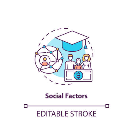 Social factors concept icon. Purchase decision factor idea thin line illustration. Socioeconomic status. Family members and relatives. Vector isolated outline RGB color drawing. Editable stroke Vektorové ilustrace